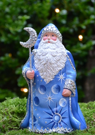 Grande Santa Sculpture, Celestial Blue…. Historical Christmas Barn