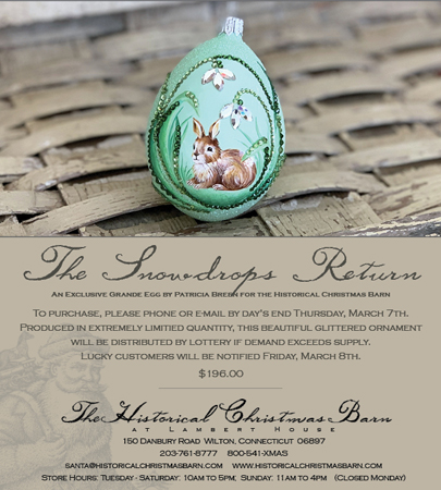 Historical Christmas Barn Exclusive Egg, Snowdrops